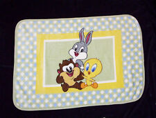 Looney Tunes Baby Bugs Bunny Taz Tweety Bird Blanket Throw Plush Luxe Green Blue