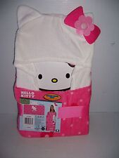 "HELLO KITTY GIRL'S PINK 100% COTTON HOODED BATH TOWEL WRAP  24"" X 50"" NEW!"