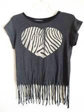 Wildfox gray T shirt beige  zebra heart design fringe around SZ M