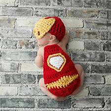 New Iron man suit baby photography Knit Crochet Clothes Photo Prop outfit