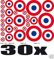 Lot Cocarde FRANCE 30 stickers adhésifs rond 16xØ1cm+6xØ2cm+5xØ3cm+3xØ4cm