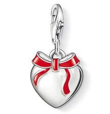 New Sterling Silver Thomas Sabo Valentine Red Bow Heart Charm 0815 £50.00