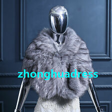 New Arrival Winter Wedding Warm Faux Fur Shawl Evening Party Jacket Shrug Wrap