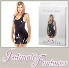 Black Latex Mini Dress Sharon Sloane Sexy Lingerie Dominatrix Size 8 10 12 14 16