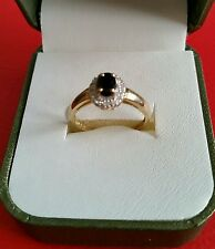 NEW.9ct Gold Black Sapphire & Diamond Cluster Ring.Size M .rrp £189.99 last ones