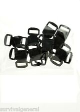 "12 Black Paracord Bracelet Buckle 1/2"" Plastic Curved Side Release Snap Survival"
