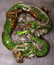 Pewter Belt Buckle animal Green Medieval Dragons NEW