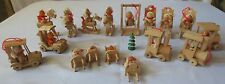 17 Vtg Wood Christmas Ornaments rocking horse, trains, cars, chairs, bears,swing