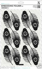 Xcut A4 embossing folder Peacock Feathers print Use A4 orA4+ die cutting machine