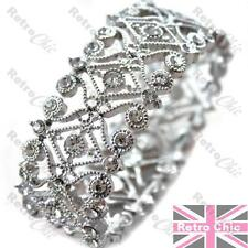 CRYSTAL BRACELET filigree RHINESTONE cuff bangle VINTAGE SILVER TONE ornate
