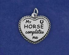 "Sterling Silver Pl Charm ""My HORSE Completes Me"" Heart Lover Pony Pendant Girls"