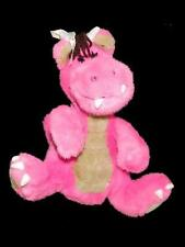 "Commonwealth Fat Dragons Vintage 1991 Pink Plush Stuffed Animal Toy 11"" Bow"