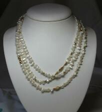 "54"" Pearl Necklace 14K Gold Wedding Jewelry Vintage Pearls Hollywood Classic"