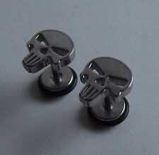 The Punisher Skull SILVER Stud PAIR Ear Ring Earrings Gothic Biker Punk