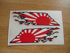 "Japanese Rising Sun Flag ""ripped"" style stickers - 150mm decals x2"