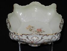 ANTIQUE c. 1870 CARL TIELSCH C.T.  GILDED LARGE FLORAL CENTERPIECE BOWL