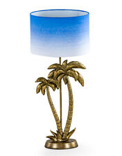 Antique Gold Palm Tree Table Lamp with Graduating Blue & White Shade 70cm High
