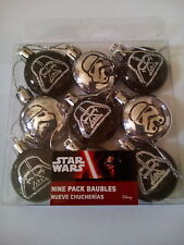 STAR WARS SMALL CHRISTMAS TREE BAUBLES DECORATIONS PACK OF 9 DARTH VADER TROOPER