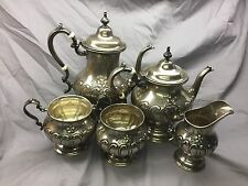 "Gorham Sterling Silver Coffee & Tea Set with ""D"" Monogram"