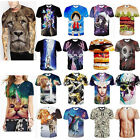 2016 UNISEX WOMEN MEN 3D GRAPHIC PRINT FUNNY CAT ANIMAL SHORT SLEEVE T-SHIRT TOP