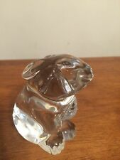 Retired Baccarat Crystal Bunny Rabbit, Hare Figurine Paperweight Made in France