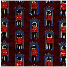 Fat Quarter Guards On Century London Burgundy Cotton Quilting Fabric  Nutex