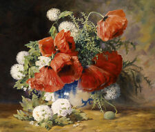 Oil painting nice still life flowers Poppies in porcelain vase on canvas