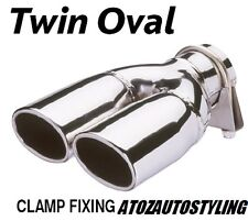Twin Oval Exhaust Tip / Trim Dual Universal - Polished Stainless Steel New Range