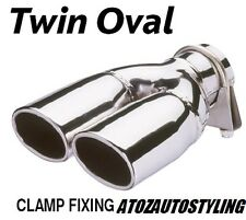 Twin Oval Punta De Escape / recortar Doble Universal-Acero Inoxidable Pulido Nueva Gama