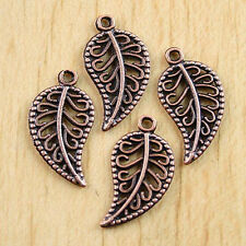 60pcs antiqued copper leaves charm pendants h0586