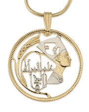 "Egyptian Bust of Nefertiti Pendant & Necklace  Hand Cut Coin 1""diameter ( # 91 )"