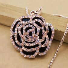 Fashion gold plating Crystal Rose sweater chain long necklace BB279