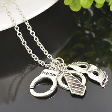 BD 50 Shades of Grey Silver Freedom Handcuffs Mask Tie Necklace Retro