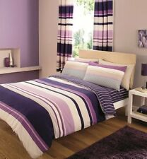 PURPLE- Contemporary Stripes Quilt Duvet Cover & Pillowcase Bed Set -  KING SIZE