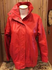 Vintage 70s LEATHER Snap Up COAT JACKET Women's L Red Sheep Mates