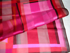 """ABSTRACT SQUARES PRINT BRIGHT REDS PINKS PURPLES 20"""" SQ POCKET SCARF NICE"""