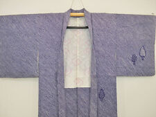 Vintage Japanese Dark Blue/White Silk Shibori Kimono Jacket 'Pine Trees' Medium