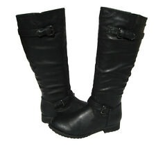Women's Fashion Knee High Biker Boots Black Winter Snow Shoes Ladies size 5.5