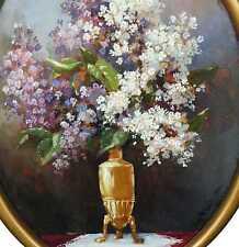 Roschlau August *1874 in Kahla ? Stilleben weißer und lila FLIEDER Jugendstil