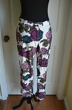 Modcloth Meadow My Gosh Pants NWT  by Motel sz L Floral Cropped  jewel tones