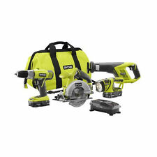New Ryobi ONE+ 4 Piece 18-Volt Lithium-Ion Cordless Power Tools Super Combo Kit