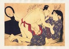 Japanese Reproduction Woodblock Print Shunga Style 9 Erotic  A4 Parchment Paper