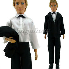 Formal Suit With Black Bowtie Wedding Groom Clothes Tuxedo For Barbie Ken Doll
