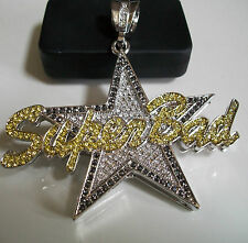 Silver Finish With  CZ hip hop bling SUPER BAD Fashion Rapper Style  Pendant