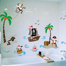 Monkey&Pirate Ship Cartoon Wall Sticker Mural Vinyl Art Decal Baby Nursery D