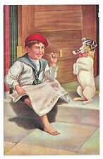 Hitting the Pipe Boy Reading Newspaper and Dog Smoking Pipe Vintage Postcard