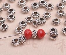 New 100pcs 8mm Tibetan Silver Alloy Metal Big Hole Spacer Beads Jewelry Findings