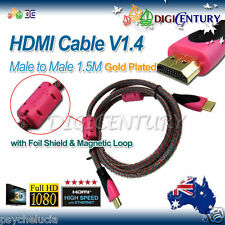 HDMI Cable V1.4 Full HD 3D HighSpeed Ethernet Foil Shield & Magnetic Loop 1.5M