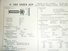 1969 KAISER JEEP J SERIES 232 CU IN 145 HP 6 CYLINDER SUN TUNE UP SPECS SHEET