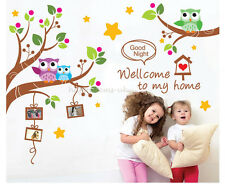Large Owl Tree Branch Photo Frame Wall Stickers Wall Decals Girl Bedroom Nursery
